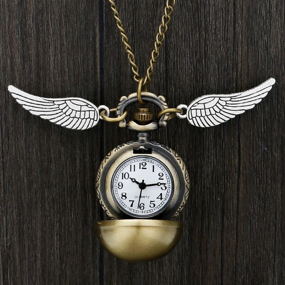 Harry Potter Theme Quartz Pocket Watch Hogwarts Golden Snitch Slytherin Retro Pendant Clock Classic Pocket Necklace Gifts Kids