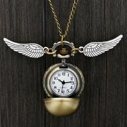 Кварцевые карманные часы Хогвартс Золотой снитч Слизерин ретро кулон часы Классический карманное ожерелье подарки дети