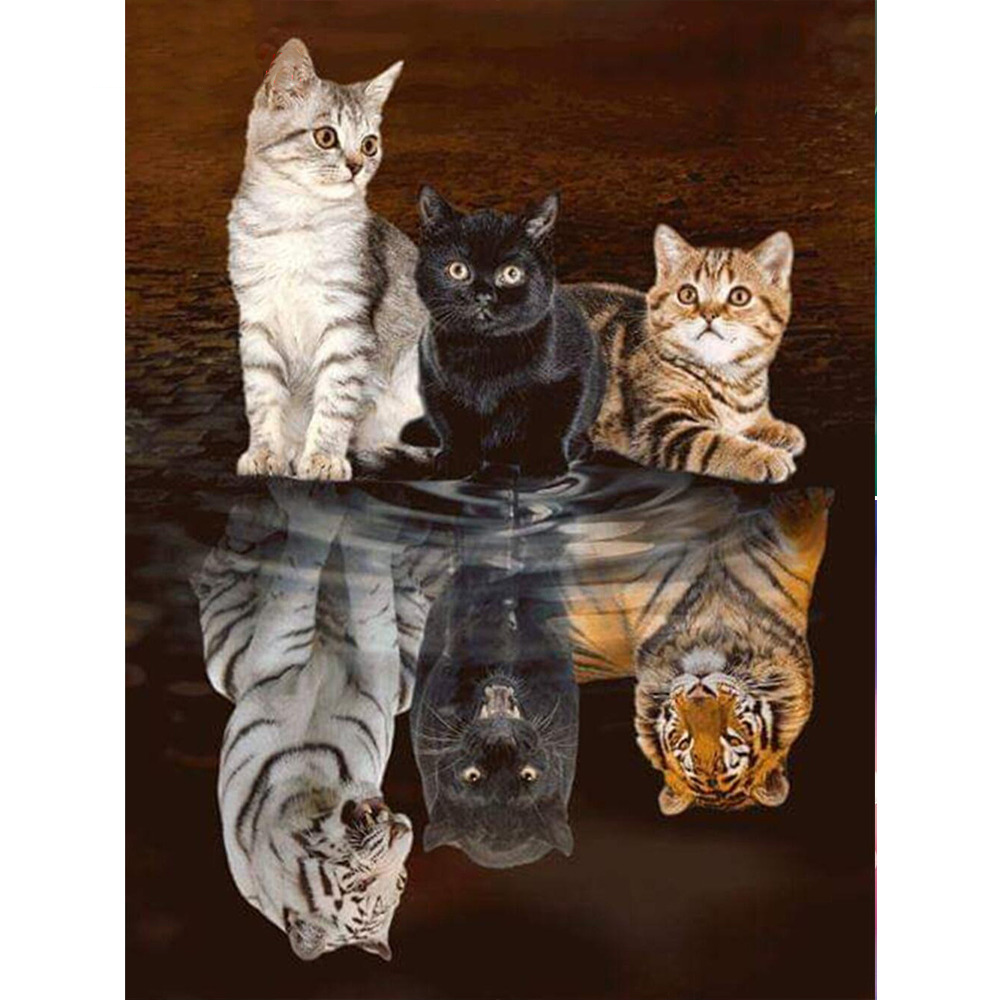 "DIY Diamond Embroidery""kittens&tiger""Diamond Painting Cross Stitch Mosaic diamond picture of rhinestones by numbers home Decor(China)"