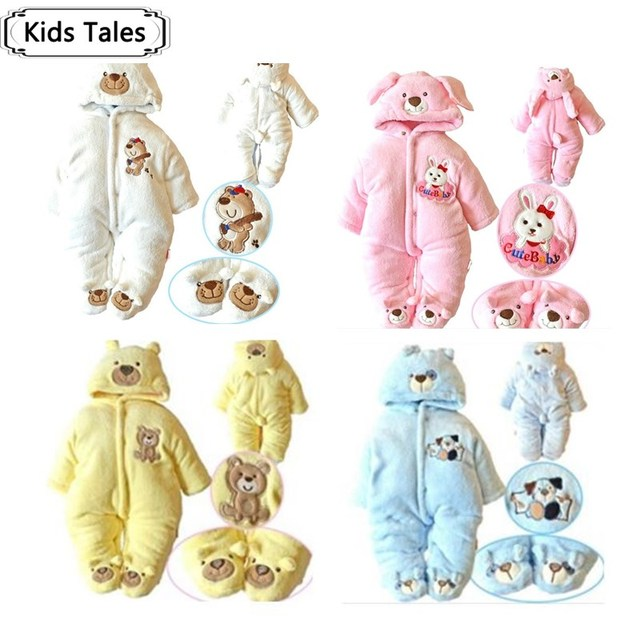 SR012 kid clothing 2017 new arrive infant warm suit baby girl clothes boys romper cartoon hoodies Romper kids clothes retail