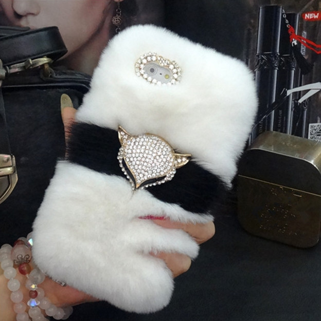 Luxury Bling Fox head Warm Soft Beaver Rabbit Fur Hair phone case for samsungS3 S4 S5