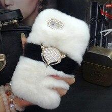 高級ブリンブリンキツネヘッド暖かいソフトビーバーウサギの毛皮毛ケースサムスンS10 S20 S9 S8プラス注20 9 8 10保護電話バック