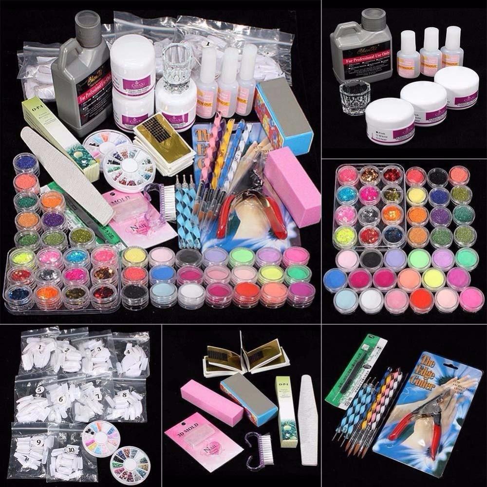 42 Acrylic Nail Art Set Tips Powder Liquid Brush Glitter Clipper Primer File Kit q70815 4 size 3d nail glitter bead white caviar beads 12box set glitter powder nail art powder dust tips manicure nail art decoration