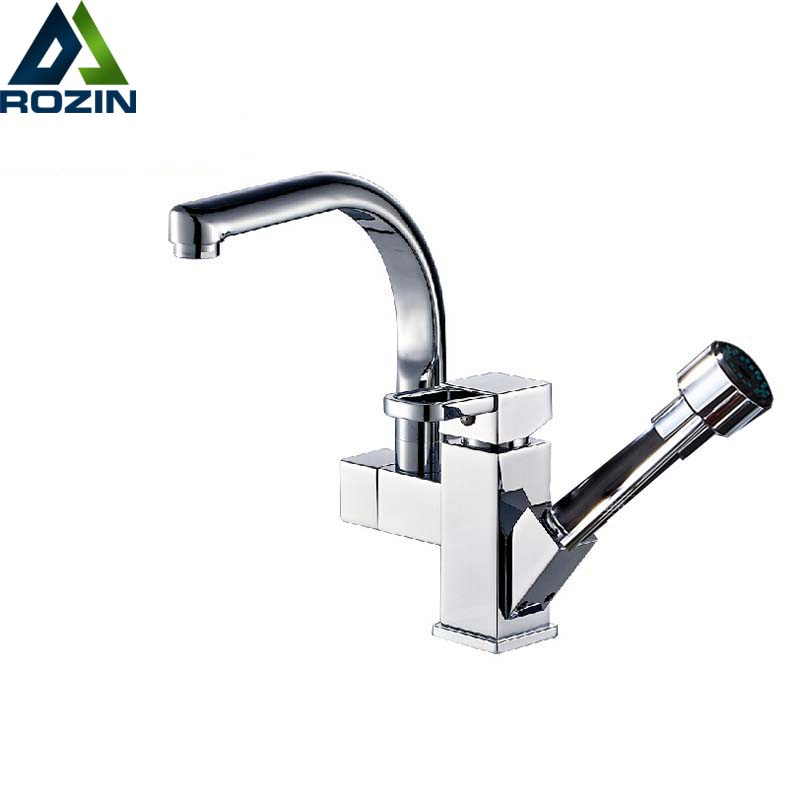 Deck Mounted Pull Out Kitchen Sink Faucet Chrome Swivel Spout Hot and Cold Bathroom Kitchen Water Tap with Hot and Cold Water