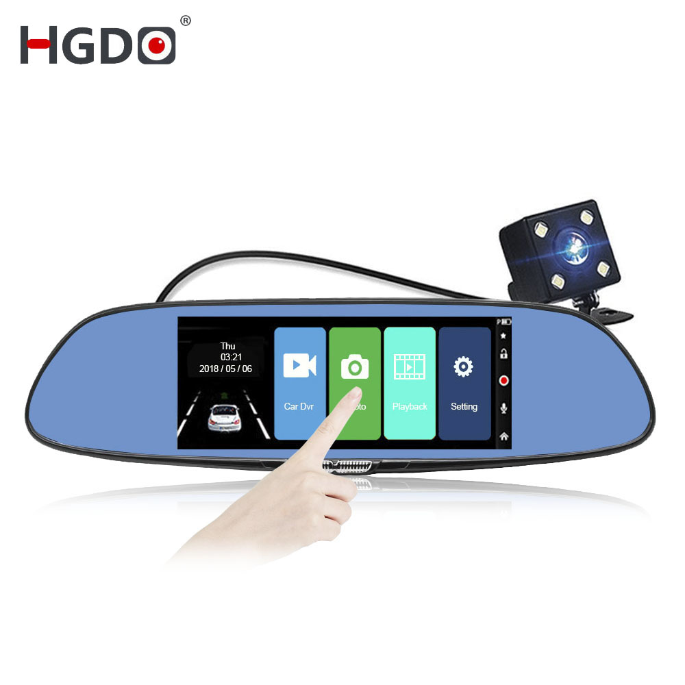 HGDO Video-Recorder Camera Rearview-Mirror Dash-Cam Touch-Screen Car-Dvr Dual-Lens 2
