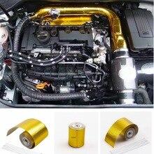 Universel Automobile tuyau bande thermique echappement voiture ruban isolant aluminium Auto feuille décorer isolation ruban adhésif chaleur bouclier ruban