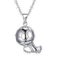 Damska biżuteria 16-18 cal Łańcuch Rolo 100% Majątek 925 sterling silver World Cup football + buty piłkarskie wisiorek naszyjniki SN253