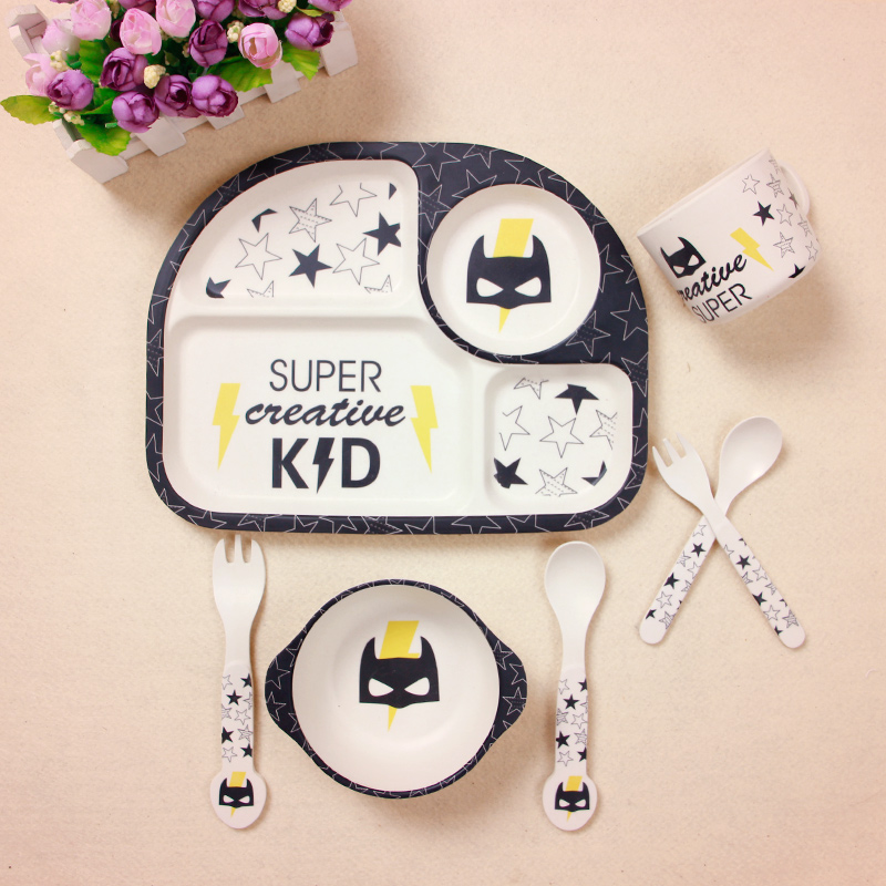 5Pcs Sets Baby Bamboo Fiber Plate Children Tableware Dish Bowl Fork Spoon Cup Food Feeding Dinnerware