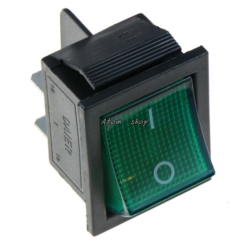 KCD4 1 шт. с подсветкой большой ВКЛ-ВЫКЛ 4-контактный кулисный переключатель-красные, синие зеленый желтый 20A 125VAC 16A 250VAC - Цвет: Зеленый