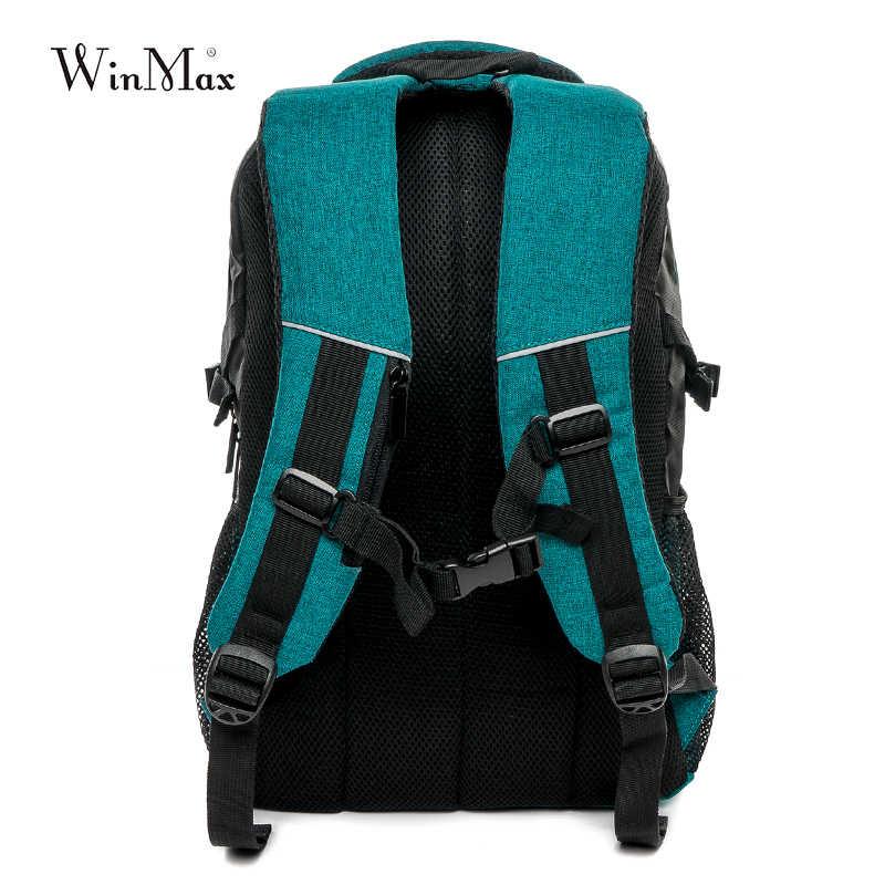 Winmax фирменный рюкзак для ноутбука Мужская Дорожная сумка 2018 Многофункциональный рюкзак Водонепроницаемый зеленый синий уличные рюкзаки для подростка