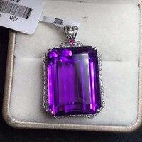 17 2 23mm 39ct 18k Rose Gold Natural Dark Purple Uruguay Amethyst Pendant Necklace For Women