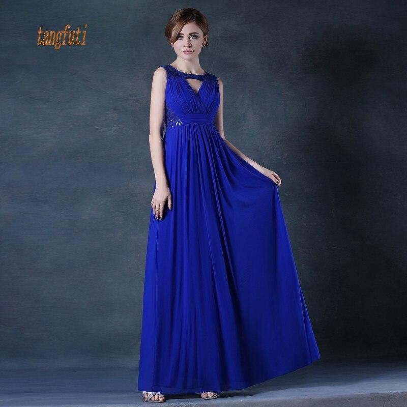 Long   Bridesmaid     Dresses   A Line Sleeveless Floor Length Sequins Chiffon Wedding Party   Dress