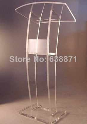 Free Shiping C Shape High Quality Beautiful Customized Acrylic Desktop Lectern Cheap Acrylic Lectern