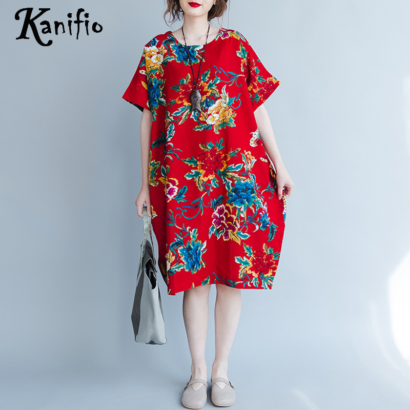 US $18.42 50% OFF|Kanifio Brand Clothing Fashion Printed Cotton Linen Dress  Plus Size Women Loose Free Oversized Casual Dresses Tunic Vestido 2018-in  ...