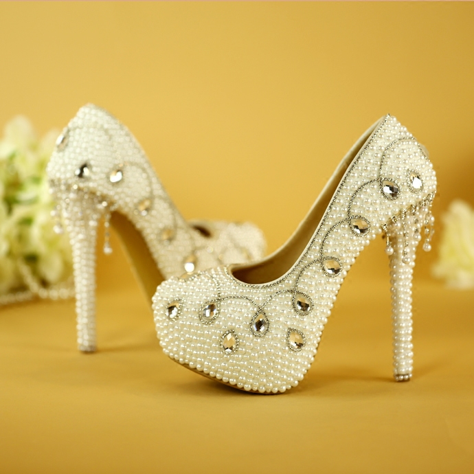 High heels crystal rhinestones pearl tassels wedding shoes bridal shoes wedding ceremony water-proof platform high heel women thin heels pearls diamonds large ultra high heel platform shoe shoes of high quality for the dating and wedding ceremony