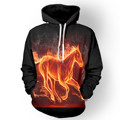 Truien Man Women Mens Slim Fit 3D Fire Horse Print Designed Hooded Jacket Coat Casual Sweatshirt Hip Hop Hoodies Animal Outwear