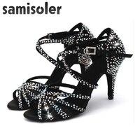 Samisoler Latin Dance Shoes Women with Black Satin tango jazz Salsa Rhinestone Shoes Dance For Women Ballroom Dancing Shoes Hig