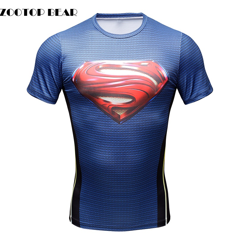 Superman t shirts men 3d printed compression t shirts for Best fitness t shirts