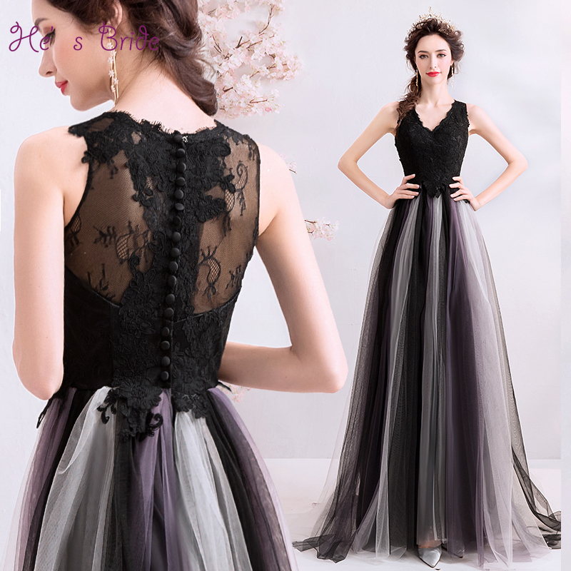 He s Bride Elegant Evening Dress Sexy V neck Sleeveless Sweep Train Floor length Embroidery Party