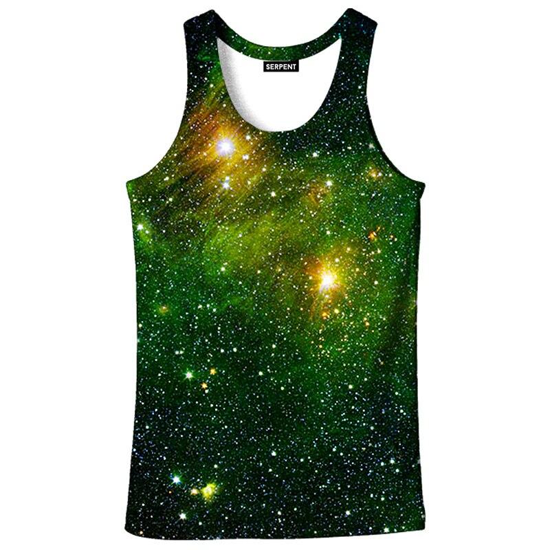 Cloudstyle 2018 Fashion Harajuku Mens 3D   Tank     Tops   Summer Green Space 3D Print Vest Men   Tank   Tee   Top   Cool Singlet Plus Size 5XL