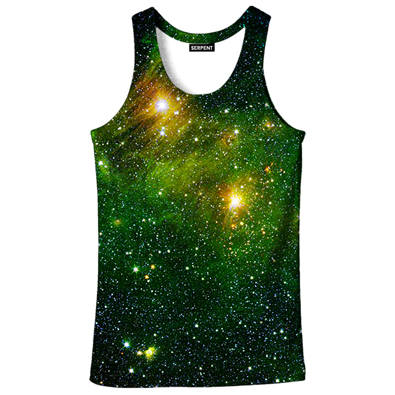 Cloudstyle 2019 Fashion Harajuku Mens 3D   Tank     Tops   Summer Green Space 3D Print Vest Men   Tank   Tee   Top   Cool Singlet Plus Size 5XL