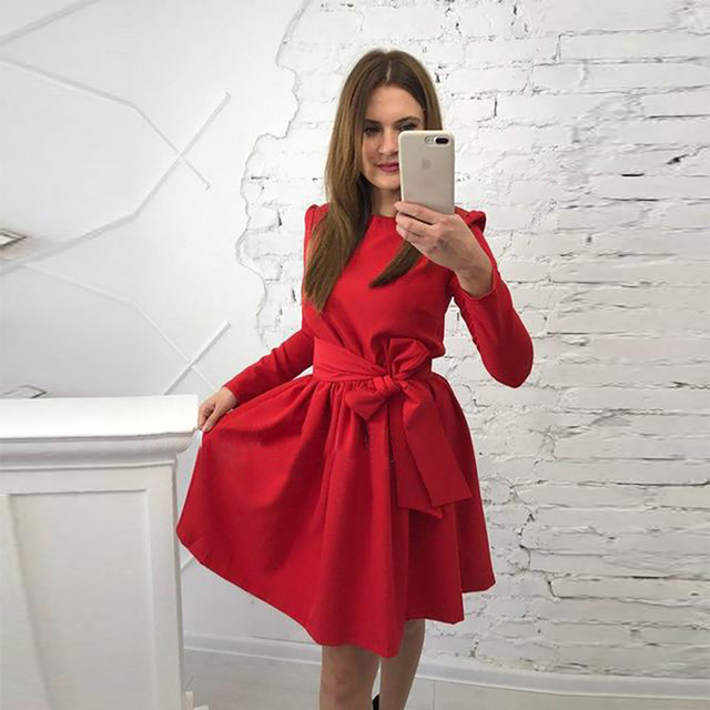 Autumn Long Sleeve High Waist Belt Style Round Neck A-Line Mini Dress
