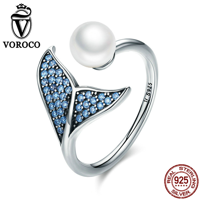 VOROCO 100% 925 Sterling Silver Rings Romantic Mermaid