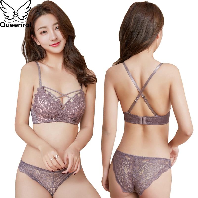 Queenral Sexy Embroidery Bra Set Push Up Underwear Set Lingerie Women Floral Wire Free Bra Brief Sets 34B Spandex Black Pink