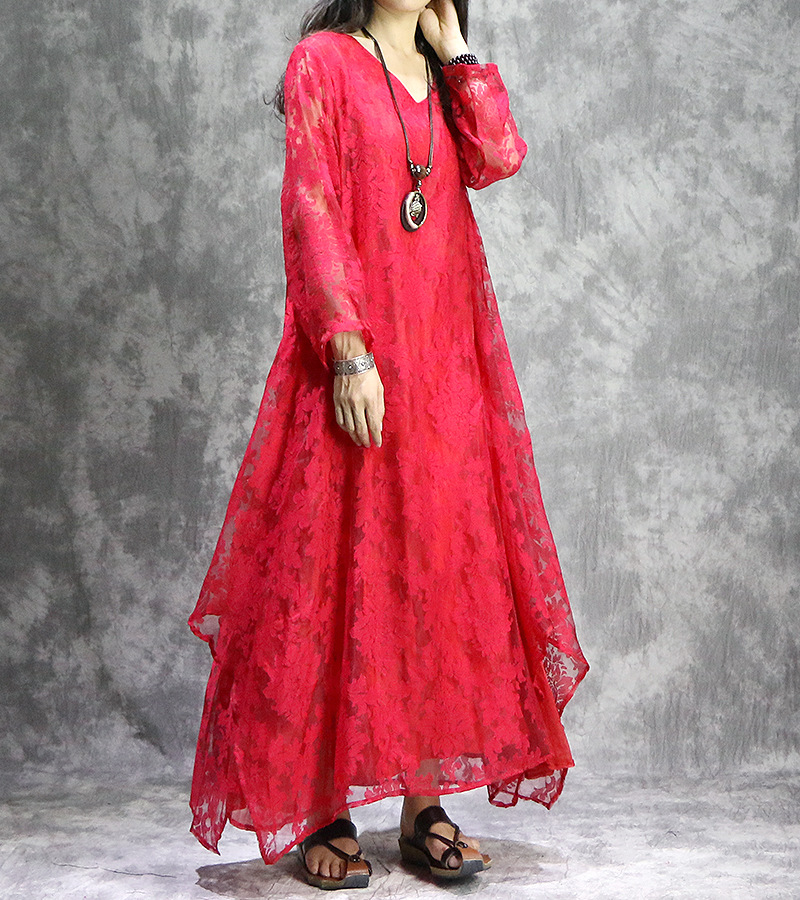 Retrò Donna Colore Ricamato Pezzo rosso V Scava Dress Signore Sciolto 2 Falso Delle Elegante Il Nero 2018 Del Di Vestito Fuori Donne Neck bianco Solido CerxodBW