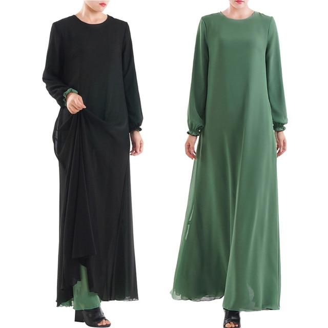 Muslim Women Wear On Both Sides Dubai Abaya Maxi Dresses Islamic Clothing Women Casual Long Sleeve O-Neck Casual Dress a417 1