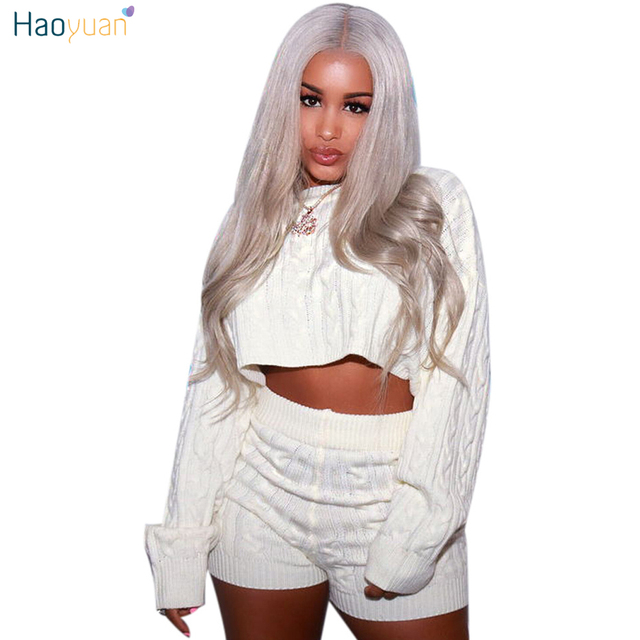 fae177d77 HAOYUAN Women Two Piece Set Sexy Club Outfits Sweater Crop Tops And Biker  Shorts Knitted Suit