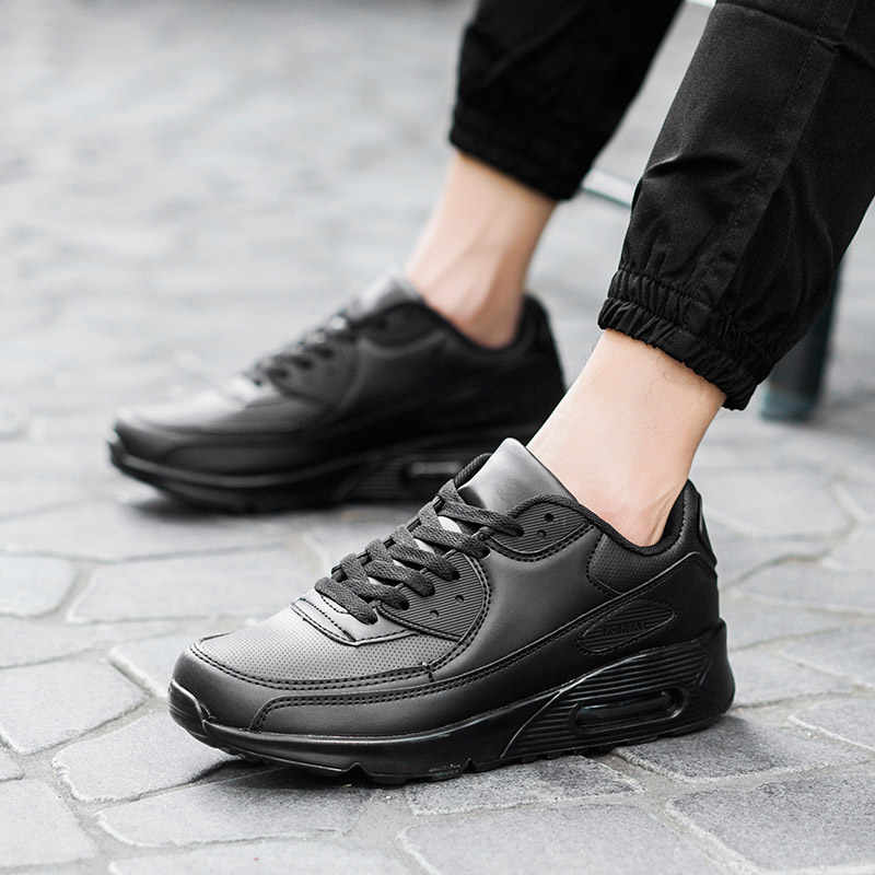 Hundunsnake 革メンズランニングシューズエアクッション女性スニーカー男白テニス男靴運動 Chaussure オム 2018 G-28