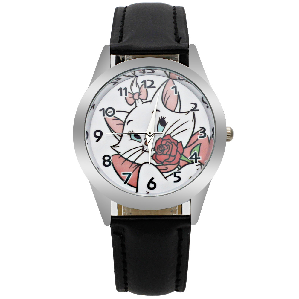 Giá bán Luxury Brand Childrens Watch Kitten Cartoon Boy Quartz Clock Students Christmas Relogio watch Casual Girl Leather Watch