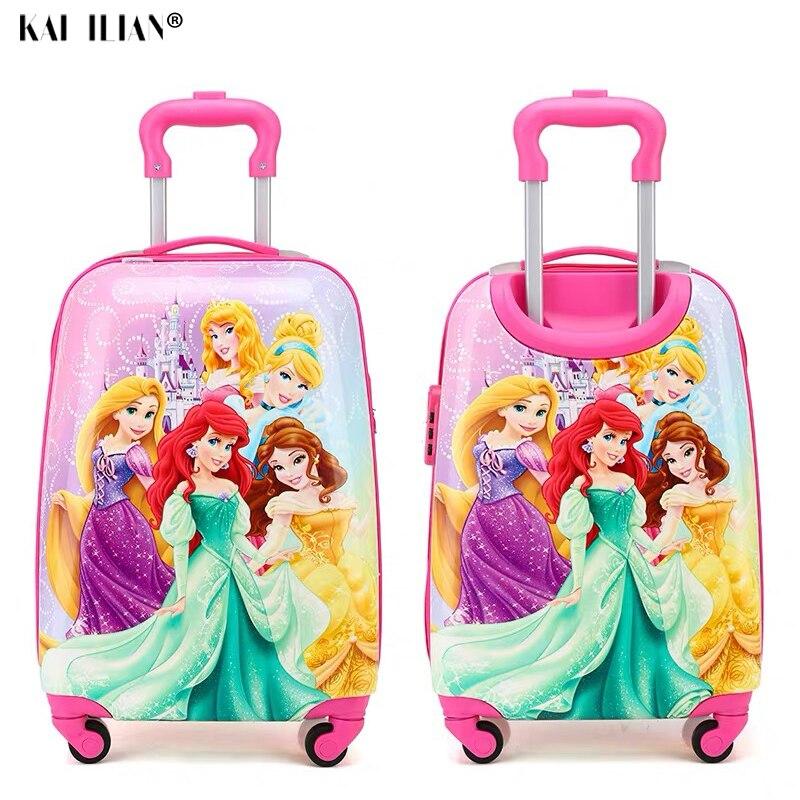 19 pouces bagage à main valise à roulettes enfants Spinner bagages carton voyage Bagages chariot sacs valise enfant belle