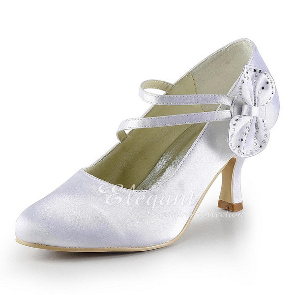 Women Briddal wedding shoes White Ivory Rhinestone Satin Mary-jane Mid Heel Lady Bride Bridesmaid PromParty Dress Pumps EP2018