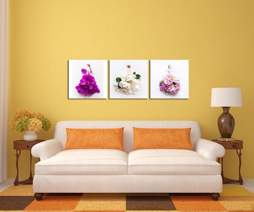 Creative Petal Women and Girl Dresses Art Canvas Wall Art Prints ...