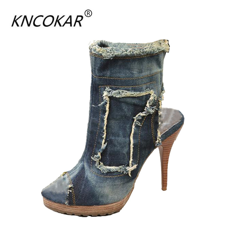 KNCOKAR2018European and American summer new jeans for women's shoes high heels with women's sandals and high heels with fish mou 2016 spring new european and american fashion shoes thick with fish head shoes nightclub new ultra high heels sandals b454