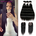 4PCS/lot Peruvian Straight Virgin Hair With Closure 8a Ali Queen Hair Products With Closure Bundle Human Hair With Closure