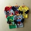 Размер90 ~ 140 хлопок ребенок вершины тройники детская одежда дети футболки для мальчиков с длинным рукавом футболки мультфильм 5 цвета автобус грузовик экскаватор