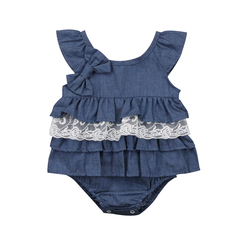 Newborn Baby Girls Toddler clothes sleeveless round neck Geometry Ruffle Jumpsuit kids cotton casual Bow Bodysuits one pieces