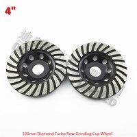2pcs 4 Inch Diamond Turbo Row Cup Wheel For Concrete Masonry Diameter 100mm Grinding Wheel Bore
