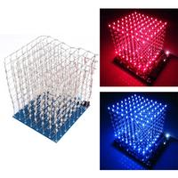 3D Squared DIY Kit 8x8x8 3mm LED Cube White LED Blue Red Light PCB Board Free