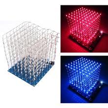 3D Squared DIY Kit 8x8x8 3 мм LED Куб Белый светодиод синий/красный свет pcb доска настольные лампы Бесплатная доставка