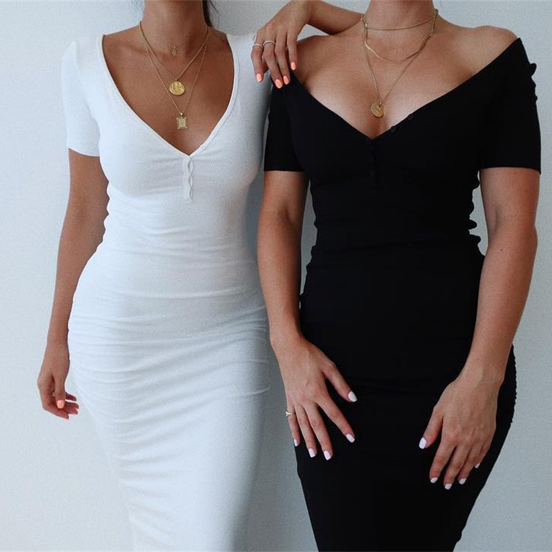 Image 4 - WannaThis Ankle Length Knitted Dress Sexy Short Sleeve Summer Casual Stretchy Elastic Elegant V Neck Women Solid Dresses Bodycon-in Dresses from Women's Clothing