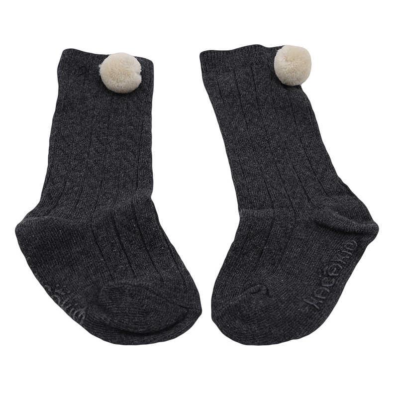 Милые осенние детские гольфы Meias для мальчиков и девочек, детские гольфы хлопковые забавные носки с помпонами брендовые От 0 до 4 лет до колена для маленьких девочек