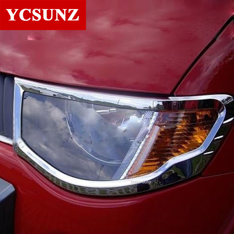 For Mitsubishi L200 Triton Accessories Chrome Headlamp Cover For Mitsubishi L200 Triton 2006-2014 Car Styling Accessories Ycsunz цена