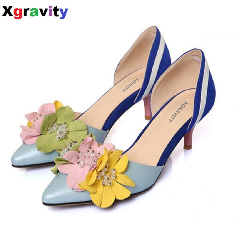 2018 Summer Lady Fashion High Heel Shoes Pointed Toe Dress Shoes Elegant Flower Closed Toe Party Summer Evening Sandals C130 creativesugar elegant pointed toe lady
