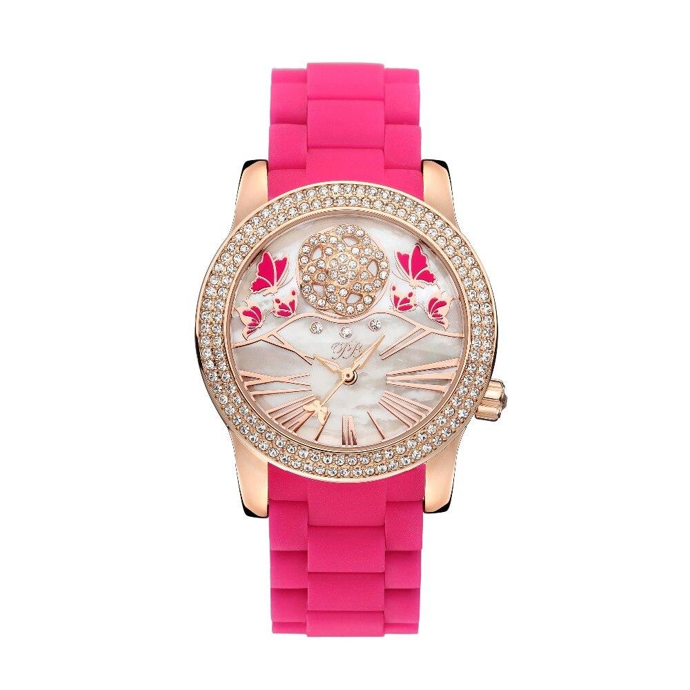 Video Display Princess Butterfly Luxury Rose Women Watch Austria Crystal Silicone Watch Lady Sapphire Rhinestone Wrist Watch matisse lady austria full crystal dial