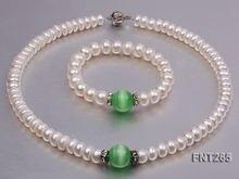Идеальный белый пресноводный жемчуг зеленый кошачий глаз камень
