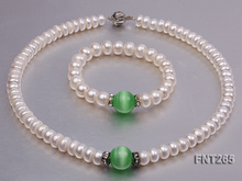 Perfect White Freshwater Pearl Green Cat's Eye Stone Rhinestone Necklace Bracelet Jewelry Set Charming Girl Baby Birthday Gift charming faux pearl rhinestone decorated bracelet for women
